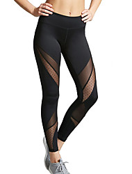 abordables -Femme Transparent Pantalon de yoga Tache Maille Zumba Course / Running Danse Collants Leggings Tenues de Sport Respirable Evacuation de l'humidité Design Anatomique Elastique