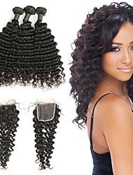 Недорогие -3 комплекта с закрытием Индийские волосы Крупные кудри человеческие волосы Remy Накладки из натуральных волос Волосы Уток с закрытием 8-20 дюймовый Нейтральный Ткет человеческих волос / 10A