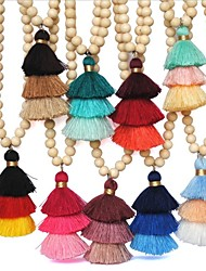 cheap -Women's Pendant Necklace Necklace Layered Necklace Tassel Long Pom Pom Spike Ladies Tassel Ethnic Boho Wooden Wood Cotton Light Blue Light Green Dark Green 90 cm Necklace Jewelry 1pc For Daily Holiday