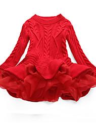 abordables -Enfants Fille Chic de Rue Quotidien Sortie Mosaïque Noël Mosaïque Manches Longues Robe Rouge / Coton