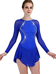 cheap -Figure Skating Dress Women's Girls' Ice Skating Dress Royal Blue Spandex Stretch Yarn Professional Competition Skating Wear Quick Dry Anatomic Design Handmade Classic Long Sleeve Performance Ice
