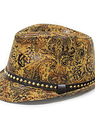 Недорогие -Муж. Винтаж Широкополая шляпа Полиуретановая,С принтом Черный Оранжевый Желтый