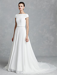 cheap -A-Line Wedding Dresses V Neck Court Train Satin Sleeveless Simple with Bow(s) 2021