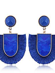 cheap -Women's Drop Earrings Tassel Ladies Simple European Fashion Earrings Jewelry Red / Green / Blue For Causal 1 Pair