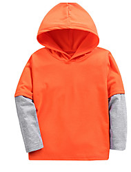 cheap -Kids Girls' Basic Daily Solid Colored Patchwork Long Sleeve Regular Cotton Blouse Orange