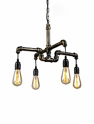 cheap -4-Head Vintage Industrial Pipe Simple Loft Iron Pipe Pendant Lights Living Room Dining Room Kitchen Cafe Hallway Bar Lighting