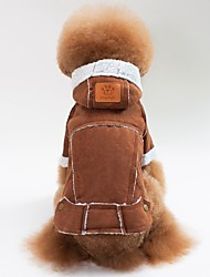 cheap -Dogs Cats Coat Jacket Winter Dog Clothes Brown Red Coffee Costume Bulldog Pug Bichon Frise Lamb Fur Solid Colored Casual / Daily Warm Ups S M L XL XXL