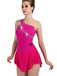 cheap -Figure Skating Dress Women's Girls' Ice Skating Dress Fuchsia High Elasticity Training Competition Skating Wear Quick Dry Anatomic Design Classic Sexy Sleeveless Ice Skating Outdoor Exercise Figure