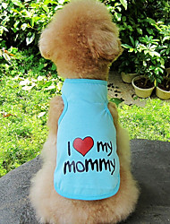 cheap -Dog Cat Vest Heart Slogan Sweet Style Casual / Daily Dog Clothes Puppy Clothes Dog Outfits Blue Pink Orange Costume for Girl and Boy Dog Cotton S M L XL XXL