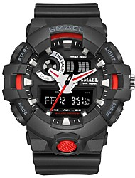 Недорогие -SMAEL Муж. Спортивные часы электронные часы Японский Цифровой Стеганная ПУ кожа Черный 50 m Защита от влаги Календарь Секундомер Аналого-цифровые Мода - Черный / Красный Черный и золотой / Хронометр