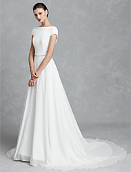 cheap -A-Line Wedding Dresses Bateau Neck Court Train Chiffon Satin Short Sleeve Simple Backless with Crystal Brooch 2020