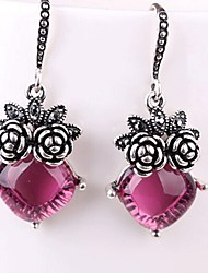 cheap -Women's Synthetic Amethyst Drop Earrings Classic Flower Ladies Classic Fashion Earrings Jewelry Silver For Daily 1 Pair