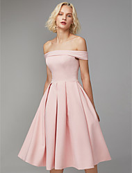 cheap -A-Line Minimalist Pink Graduation Cocktail Party Dress Off Shoulder Sleeveless Knee Length Spandex with Pleats 2020