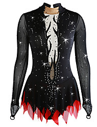 cheap -Figure Skating Dress Women's Girls' Ice Skating Dress Black Open Back Deep V Spandex Micro-elastic Professional Competition Skating Wear Handmade Sequin Long Sleeve Figure Skating