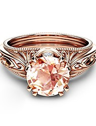 cheap -Women's Ring Citrine 1pc Rose Gold Copper Rose Gold Plated Imitation Diamond Four Prongs Ladies Elegant Korean Night out&Special occasion Date Jewelry Hollow Out Petal Lovely