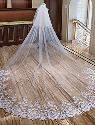 cheap -Two-tier Lace Applique Edge Wedding Veil Cathedral Veils with Faux Pearl / Appliques Lace / Tulle / Mantilla