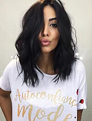 cheap -Synthetic Wig Loose Wave Water Wave Kardashian Middle Part Wig Medium Length Natural Black Synthetic Hair 16inch Women's Synthetic Designers Hot Sale Black / Natural Hairline / African American Wig