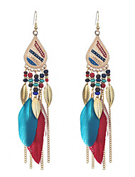 cheap -Women's Drop Earrings Tassel Long Leaf Feather Ladies Tassel Ethnic Boho Native American Feather Earrings Jewelry Black / Rainbow / Light Coffee For Party Prom Promise 1 Pair