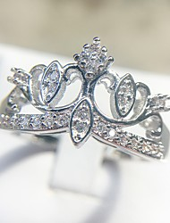 cheap -Women's Ring 1pc Silver Copper Platinum Plated Imitation Diamond Ladies Elegant Romantic Gift Date Jewelry Classic Crown Cute