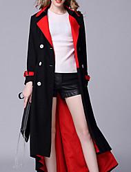 abordables -Femme Quotidien / Travail Basique Hiver Maxi Manteau, Bloc de Couleur Col Droit Manches Longues Laine / Coton / Polyester Mosaïque Noir