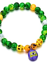 cheap -Women's Bead Bracelet Retro Skull Ladies Simple Classic Glass Bracelet Jewelry White / Yellow / Green For Halloween Gift