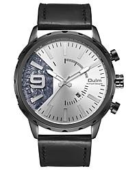 cheap -Oulm Men's Wrist Watch Quartz Oversized Elegant Water Resistant / Waterproof Genuine Leather Black Analog - White Black One Year Battery Life / Large Dial / Jinli 377 / Steampunk