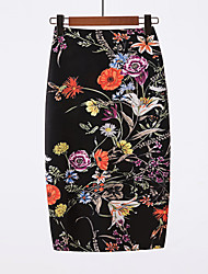 cheap -Women's Going out Basic / Chinoiserie Bodycon Skirts - Floral Black L XL XXL