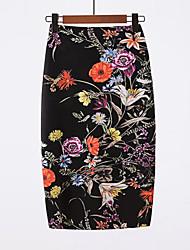 abordables -Femme Basique Chinoiserie Sortie Moulante Jupes - Fleur Noir L XL XXL