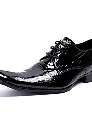 cheap -Men's Novelty Shoes Nappa Leather Spring & Summer / Fall & Winter Vintage / British Oxfords Non-slipping Black / Party & Evening / Party & Evening / Printed Oxfords / Dress Shoes
