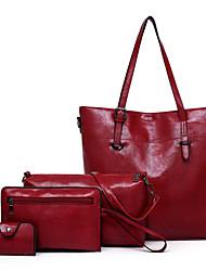 cheap -Women's Zipper PU Leather Bag Set Bag Sets 4 Pieces Purse Set Black / Brown / Blue