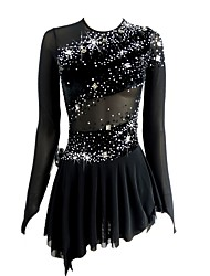 cheap -Figure Skating Dress Women's Girls' Ice Skating Dress Black Open Back Asymmetric Hem Spandex Micro-elastic Professional Competition Skating Wear Handmade Sequin Long Sleeve Figure Skating