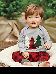 cheap -Baby Boys' Basic Christmas / Daily / Holiday Print / Christmas Embroidered Long Sleeve Regular Cotton Clothing Set Gray / Toddler