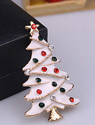 cheap -Men's AAA Cubic Zirconia Brooches Classic Santa Suits Christmas Tree Classic Cartoon Cute Rhinestone Brooch Jewelry White / White Gold Green For Christmas Daily