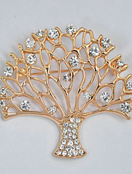 cheap -Women's Brooches Hollow Out Tree of Life life Tree Ladies Stylish Classic Rhinestone Brooch Jewelry Gold For Daily