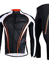 cheap -Nuckily Men's Long Sleeve Cycling Jersey with Tights Winter Fleece Polyester Black Stripes Bike Clothing Suit Windproof Breathable Quick Dry Anatomic Design Reflective Strips Sports Stripes Mountain