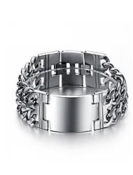 cheap -Men's Chain Bracelet Geometrical Creative Fashion Initial Titanium Steel Bracelet Jewelry Silver For Party Daily