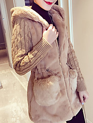 cheap -Women's Daily / Going out Basic / Street chic Spring / Fall & Winter Plus Size Regular Coat, Solid Colored Hooded Long Sleeve Faux Fur / Acrylic Patchwork White / Camel / Gray