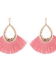cheap -Women's Drop Earrings Tassel Stylish Drop Ladies Simple European Oversized Earrings Jewelry Green / Blue / Pink For Evening Party Street 1 Pair