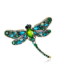 cheap -Women's Brooches Vintage Style Dragonfly Animal Ladies Unique Design Vintage Color Rhinestone Gold Plated Brooch Jewelry Light Green Champagne Dark Green For Evening Party Street