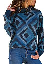cheap -Women's Daily / Going out Basic Geometic / Slim Long Sleeve Slim Regular Pullover Sweater Jumper, Turtleneck Fall / Winter Blue / Red / Navy Blue S / M / L / Sexy