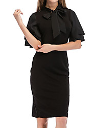 cheap -Women's Going out Slim Sheath Dress - Solid Colored Black, Ruffle Summer Black S M L XL