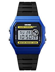 Недорогие -SKMEI Муж. Спортивные часы Армейские часы электронные часы Цифровой Стеганная ПУ кожа Черный 50 m Будильник Календарь Секундомер Цифровой На каждый день Мода -  / Один год / Хронометр