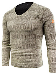cheap -Men's Going out Solid Colored Long Sleeve Regular Pullover Sweater Jumper, V Neck Black / Gray / Khaki M / L / XL