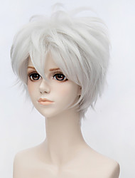 cheap -Cosplay Costume Wig Costume Accessories Synthetic Wig Straight Kardashian Asymmetrical Wig Short Silver Synthetic Hair 10 inch Men's Anime Cosplay Silver