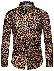 cheap -Men's Leopard Shirt Long Sleeve Daily Tops Sexy White Yellow