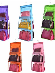 cheap -Double Side Transparent 6 Pocket Foldable Hanging Handbag Purse Storage Bag Sundry Tidy Organizer Wardrobe Closet Hanger
