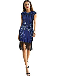 cheap -The Great Gatsby Charleston Vintage 1920s Roaring 20s Flapper Dress Masquerade Women's Sequins Costume Black / Golden+Black / Blue Vintage Cosplay Party Homecoming Prom Sleeveless Knee Length