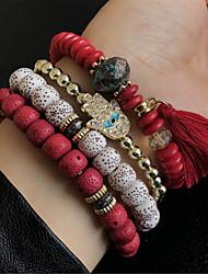 cheap -4pcs Women's Charm Bracelet Wrap Bracelet Bracelet Layered Stylish Stacking Stackable Letter Faith Ladies Unique Design Colorful Folk Style Acrylic Bracelet Jewelry Rainbow / Red / Blue For Carnival