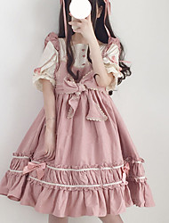 cheap -Sweet Lolita Cute Dress Girls' Female Japanese Cosplay Costumes Black / Red / Pink Solid Color Patchwork Bowknot Petal Sleeve Short Sleeve Midi
