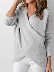 cheap -Women's Going out Street chic Split / Wrap Solid Colored Long Sleeve Regular Pullover Sweater Jumper, V Neck Fall / Winter Black / White / Gray S / M / L